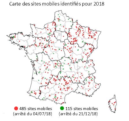 Carte nationale des 600 nouveaux sites mobiles identifiés en 2018